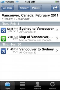 tripit iphone screenshot