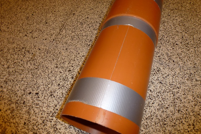 Homemade Balance Board - Inner PVC pipe with duct tape