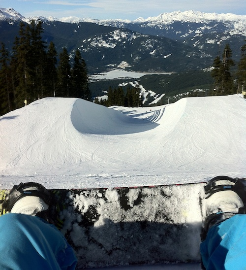 Dropping into Whistler Halfpipe