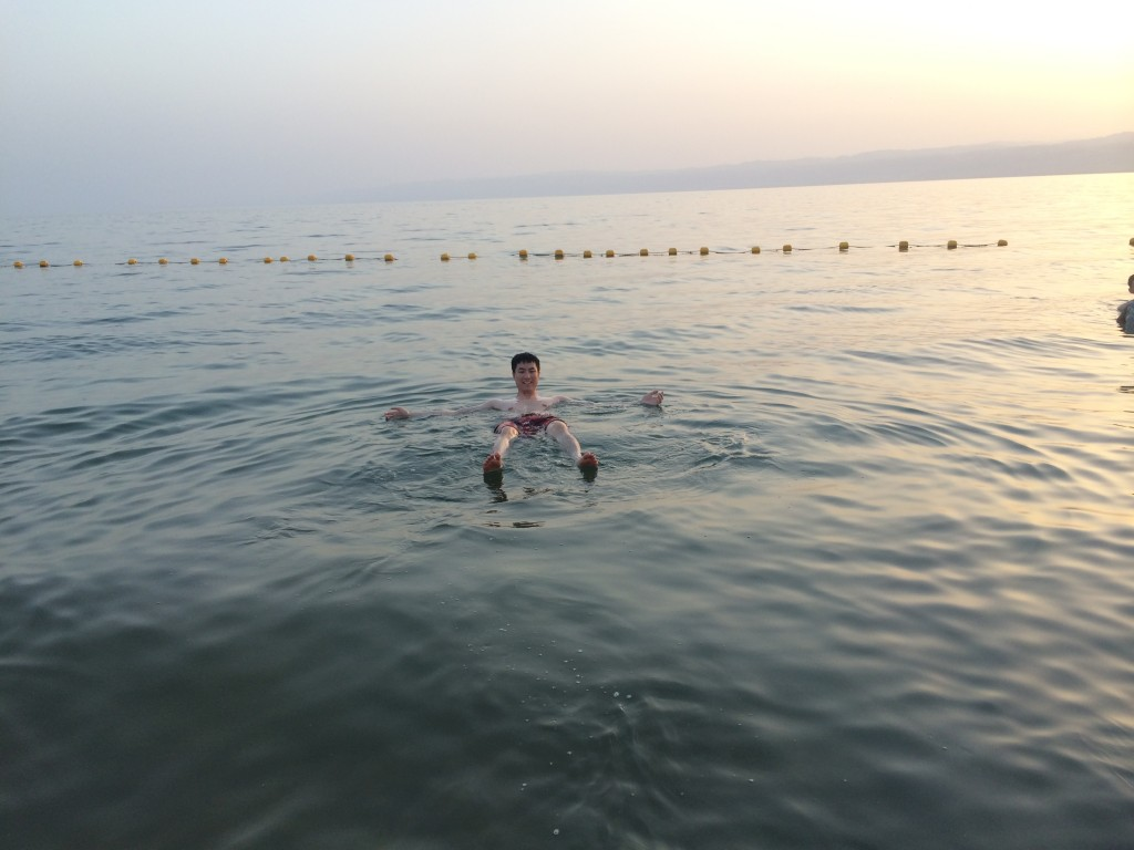 Floating in the Dead Sea - no hands!